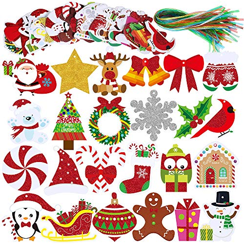 Winlyn 120 Sets Christmas Holiday Paper Gift Tags with Strings Name Tag Labels Favor Tags Hang Tags Glitter Paper Cutouts for Party Gift Bags Wrapping Presents Packages Xmas Tree Ornaments Decor