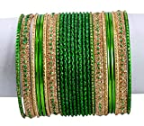 1 Set of 24pcs Traditional Casual Party Wear Bridal Metal Bangles / Chudi Jewelry For Ladies (Green)