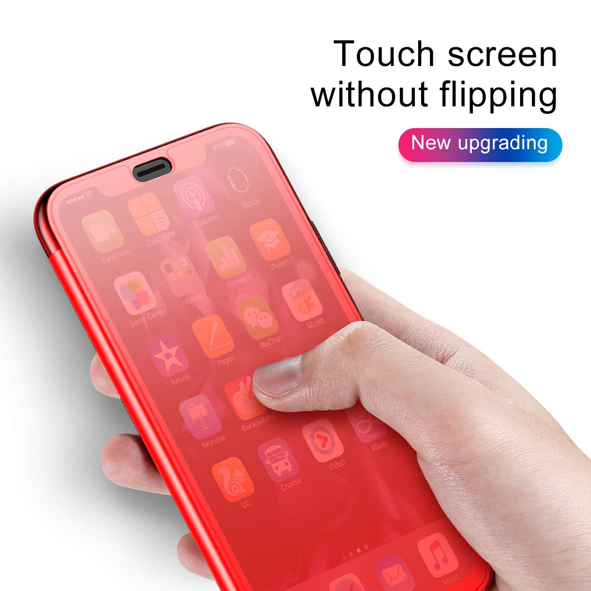 AICase iPhone XR 6 1'' 2018 Flip Case, AICase Clear View Translucent Touch  Sensible Ultra Thin Slim Window Front Flip Cover Case for Apple iPhone XR
