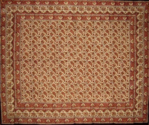 Homestead Block Print Indian Tapestry Cotton Spread 108'' x 88'' Full/Queen