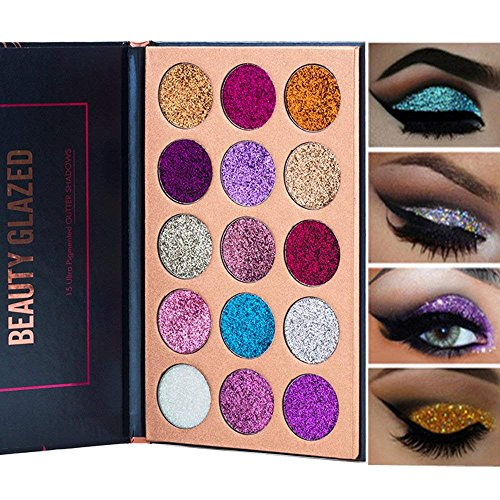 Beauty Glazed 15 Colors Bold Glitter Eyeshadow Palette - 15 Colors Eyes Makeup , Long-lasting, Glitter Elegant Mineral Creamy Pigmented , Highly Pigmented