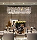 Cheap Siljoy Modern Crystal Chandelier Lighting Oval Rectangular Pendant Lights for Dining Room Kitchen Island L 47.3″ x W 7.9″ x H 16″