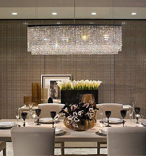 Siljoy Modern Crystal Chandelier Lighting Oval Rectangular Pendant Lights for Dining Room Kitchen Island L 47.3