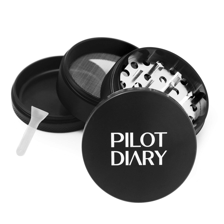Pilot Diary Mandala Series Zinc Alloy 4 Piece Herb Grinder with Pollen Catcher 2 Titanium Blue