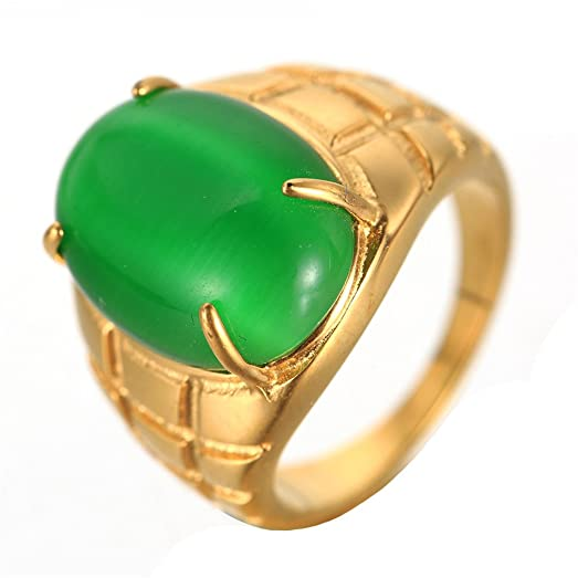 OAKKY Men s Stainless Steel Oval Green Cat s Eye Stone Gold Ring