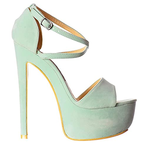 5331ecf7a5f Strappy Cross Over Pastel Stiletto Platform High Heel Party Shoes - Mint  Suede