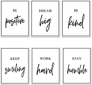 """GEEDUO Inspirational Wall Art Posters Wall Decor Motivational Wall Art Pictures for Room Bedroom Office Walls,Unframed, Set of 6 (8""""X10"""")"""