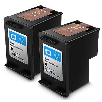 Cartucho de Tinta regenerado HP 301 HP301 XL Cartuchos de Tinta de Alto Rendimiento (2 Negro)