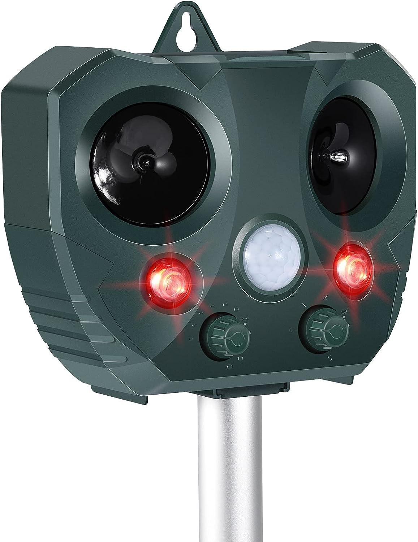 Ultrasonic Dog Chaser, Animal Deterrent with Motion Sensor and Flashing Lights Outdoor Solar Farm Garden Yard Repellent,Dogs, Cats, Birds, Squirrel, Raccoon, Skunk, Rat, Mole, Deer, Rabbit