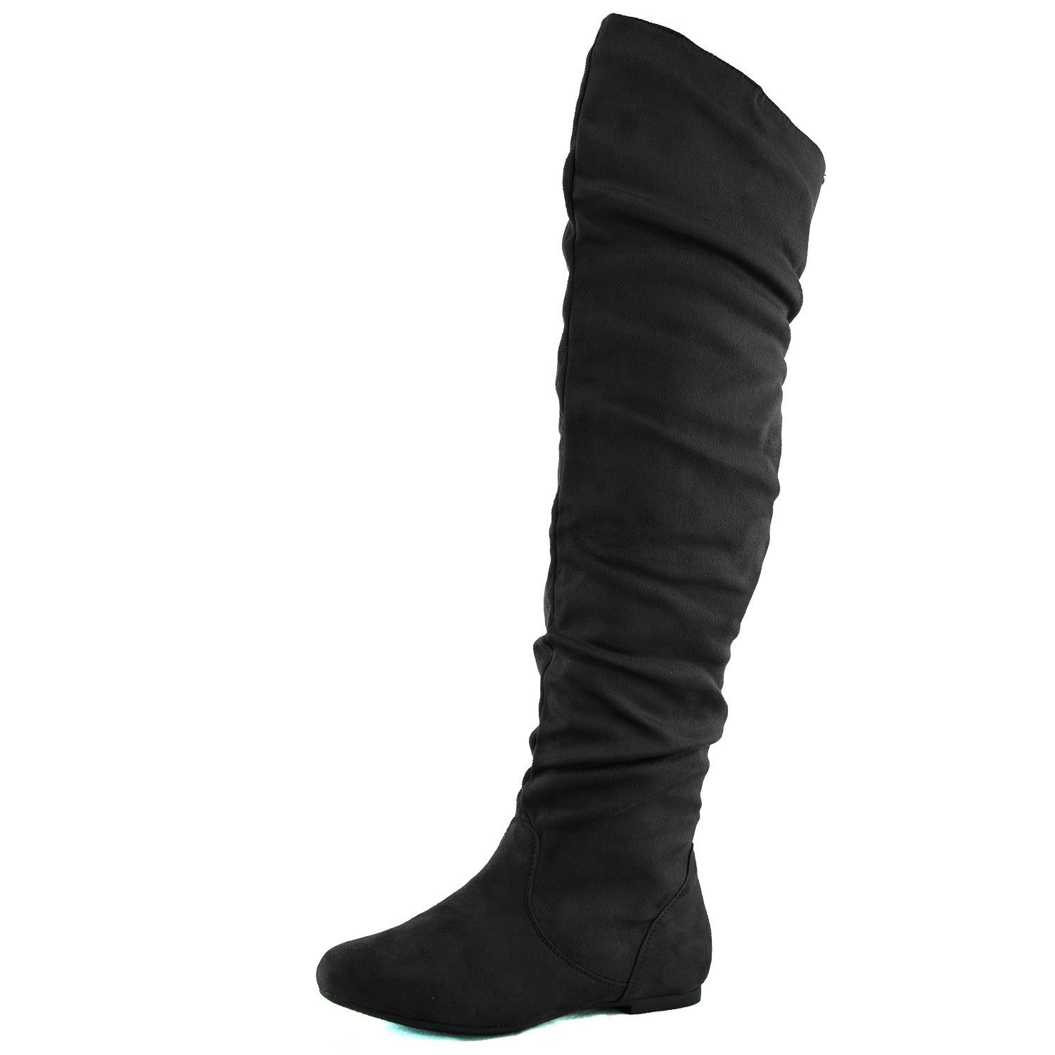 Women's Over The Knee Slouchy Flat Boots Knee High Low Heel Shoes Thigh High Boots Black Suede 8