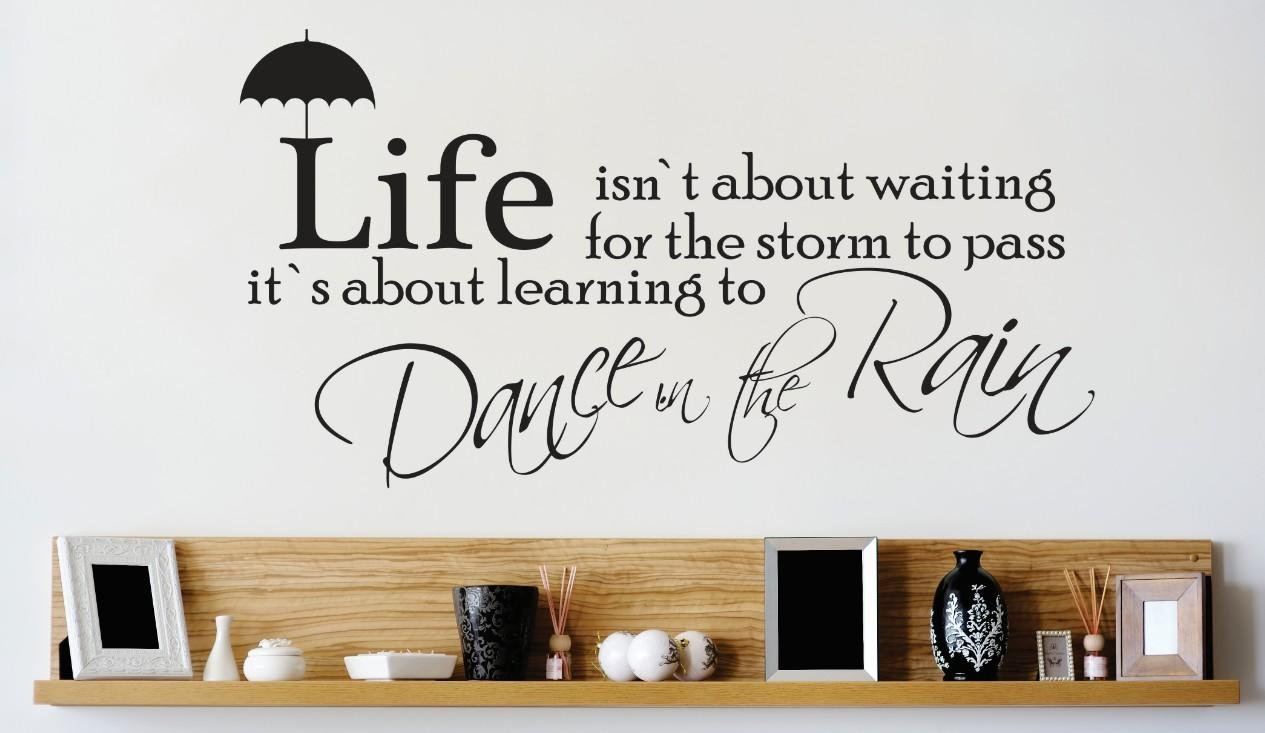 Design with Vinyl 2 Zzz 638 Decor Item Life Isn't About Waiting for The Storm to Pass its Learning to Dance in The Rain Quote Wall Decal Sticker, 14 x 28-Inch, Black