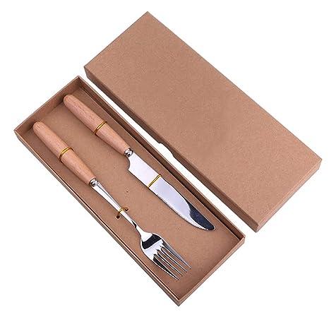 Cuchillo y Tenedor Juego de Cubiertos de Mango de Madera Cuchillo de Acero Inoxidable Cuchillo Tenedor
