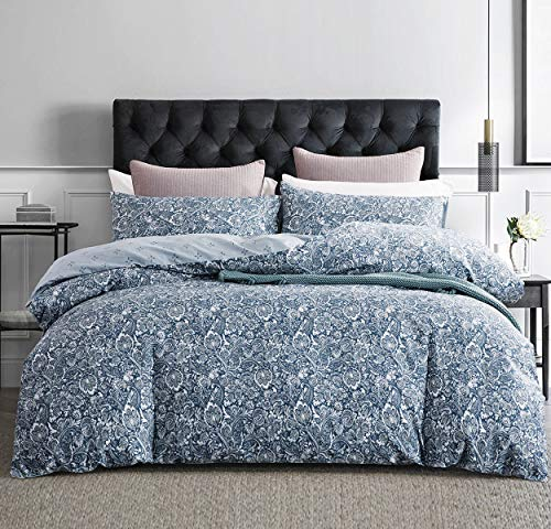 SLEEPBELLA Duvet Cover King, 600 Thread Count Cotton Blue Paisley Floral Pattern Reversible Comforter Cover