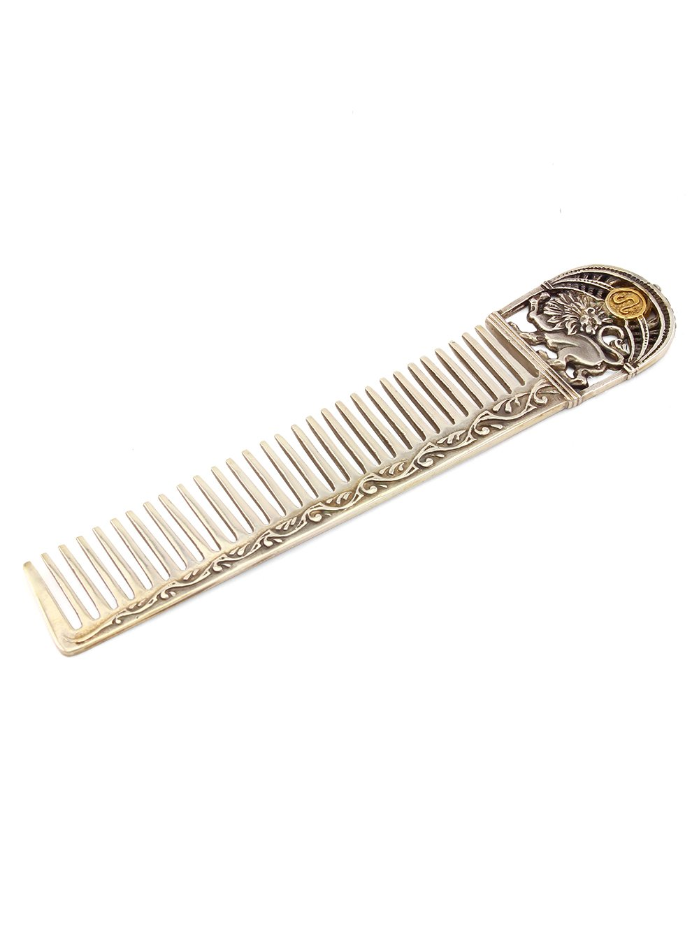 Silver Hair comb with Zodiac Horoscope Astrology Sign ''Leo''