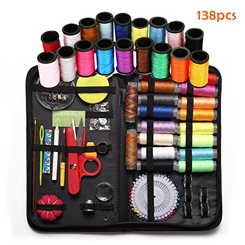 Leegoal Sewing Kit with 138 Sewing Accessories, Zipper Portable Mini Sew Kit for Traveller, Adults, Beginner, Emergency by Leegoal