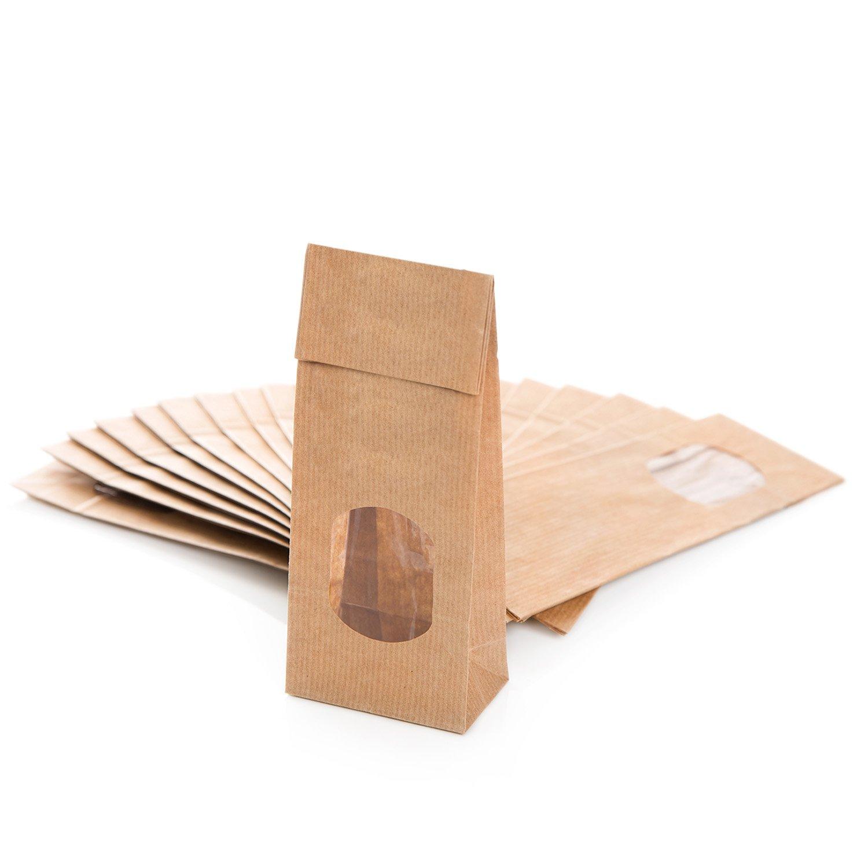 versch Gr/ö/ßen Blockboden-Beutel mit Sicht-Fenster braun papier Gew/ürz-Geschenk-T/üte Obst-Beutel Geschenkverpackung Papier-beutel Kraftpapier-t/üten Mitgebsel 10 St/ück, 100g 100g//250g//500g