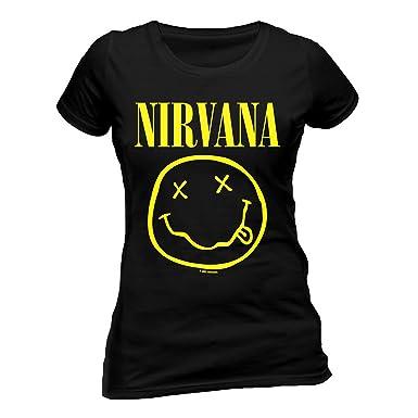 73ee4f13 Ladies Nirvana Smiley Kurt Cobain Rock Grunge Official Tee T-Shirt Womens  Girls Black: Amazon.co.uk: Clothing