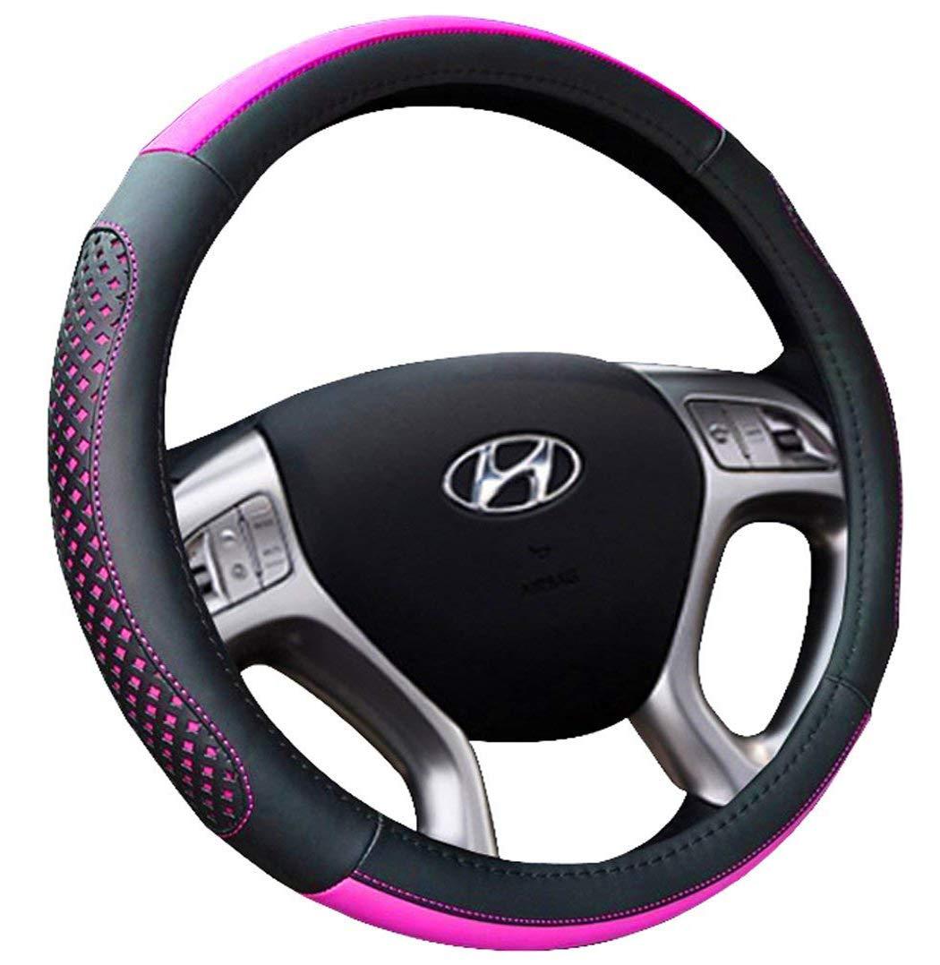 Auto Car Steering Wheel Cover Universal 15 Inch - Microfiber Leather Stylish Pattern Anti Slip Breathable Steering Wheel Wrap (Black & Pink)