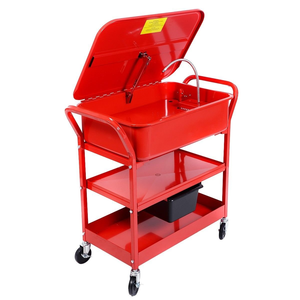 Globe House Products GHP 20-Gallon Max Tank Cacpacity 5.28GPM Flow Rate Red Mobile Parts Washer Cart by Globe House Products (Image #1)