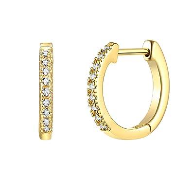 b5196fd68 LOYATA Small Hoop Earrings, 14K Gold Plated Sterling Silver Post Cubic  Zirconia Mini Huggie Earrings Delicate Tiny Cartilage Cuff Earrings Endless  Hinged ...