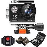 IXROAD Action Cam 4K Ultra HD WiFi Sport Camera Fotocamera Videocamera Telecamere Subacquea Sportive con Schermo LCD da 2 Pollici, Grandangolo da 170°, 2 Batteria, Telecomando, Kit Accessori (Nero)