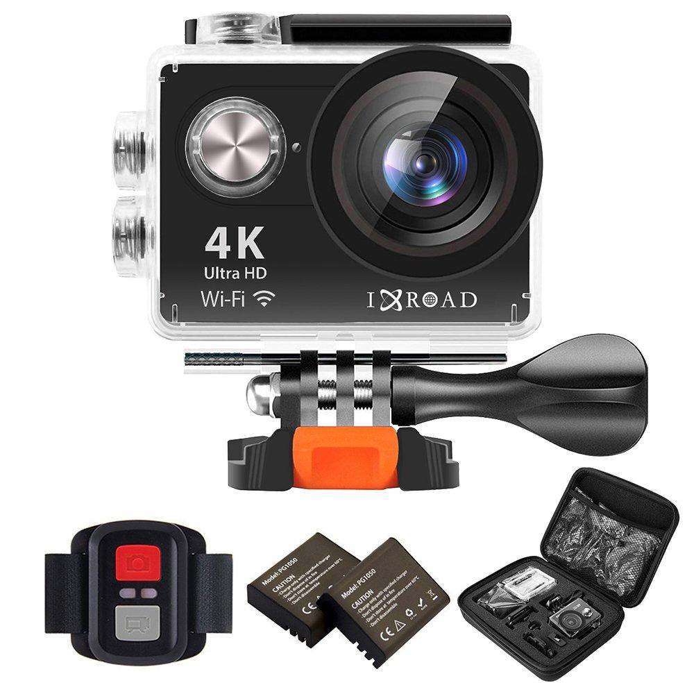 IXROAD Action Cam 4K WiFi Unterwasserkamera Actionkamera Helmkamera Actioncam Sportkamera mit Fernbedienung 2 Akkus und Zubehö r Set fü r Fahrrad Motorrad (Schwarz) H9R
