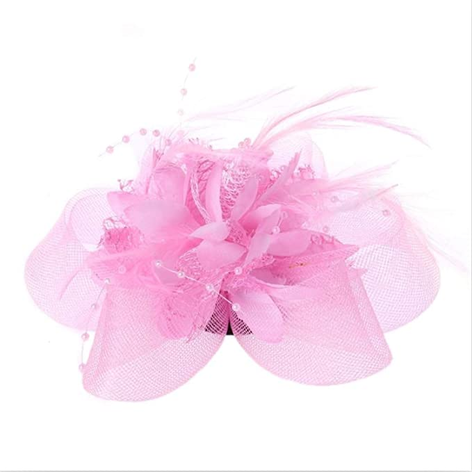 Chiced Fashion Women Flower Feather Beads Mesh Corsage Hair Clips Girls Ladies Female Fascinator Bridal Hairband Pink