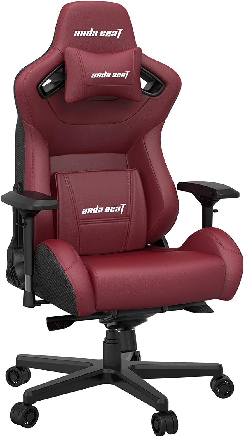 Gaming Chair, ANDASEAT Kaiser 2 Racing Office Computer Chair,Adjustable Swivel Rocker Recliner Leather Game Chair with Headrest and Lumbar Pillow E-Sports Chair (RED1)