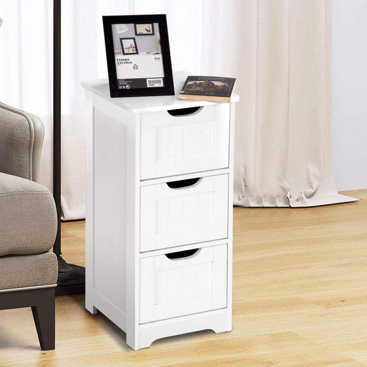 Tangkula Floor Cabinet with 3 Drawers Wooden Storage Cabinet for Home Office Living Room Bathroom Side Table Sturdy Modern Drawer Cabinet Organizer Bedroom Night Stand, White(3 Drawers) by TANGKULA (Image #5)