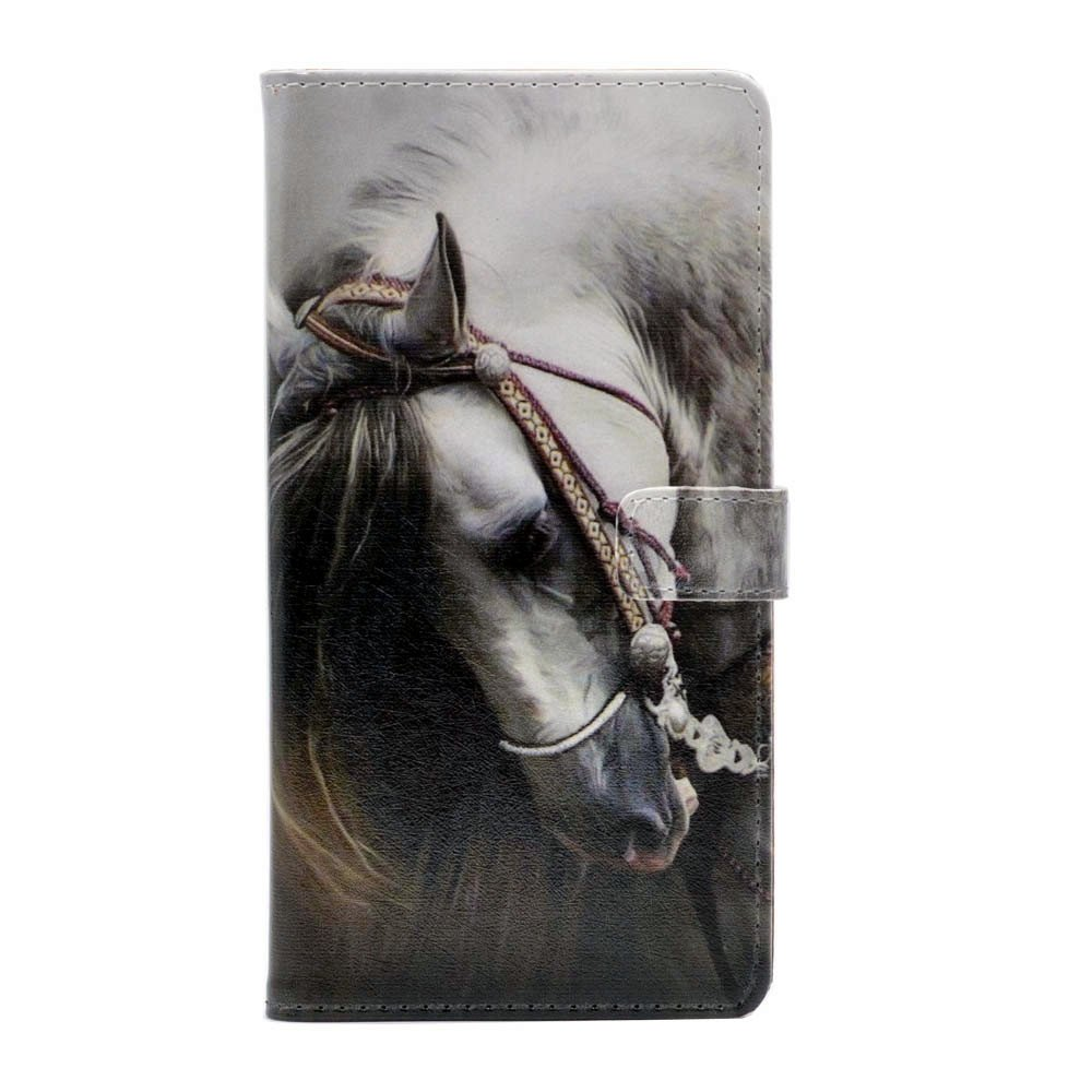 Samsung Galaxy J7 2017 Case, Handsome Side View of a White Horse Leather Wallet Credit Card Holder Flip Stand Case Cover For Samsung Galaxy J7 2017,J7 Prime,J7 V, J7 Sky Pro/J7 Perx