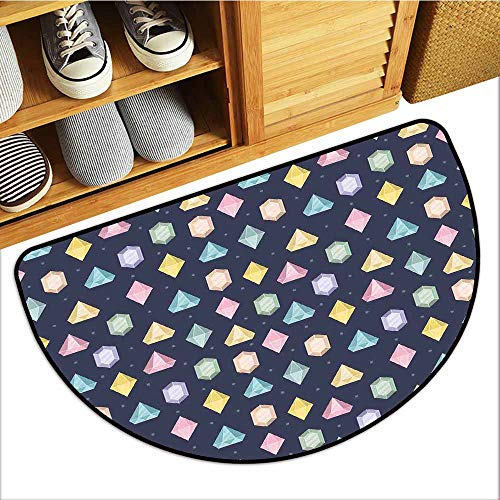 Axbkl Outdoor Doormat Colorful Graphic Gemstones with Different Shapes Trillion Drop and Marquise Cut Pattern All Season General W36 xL24 Multicolor