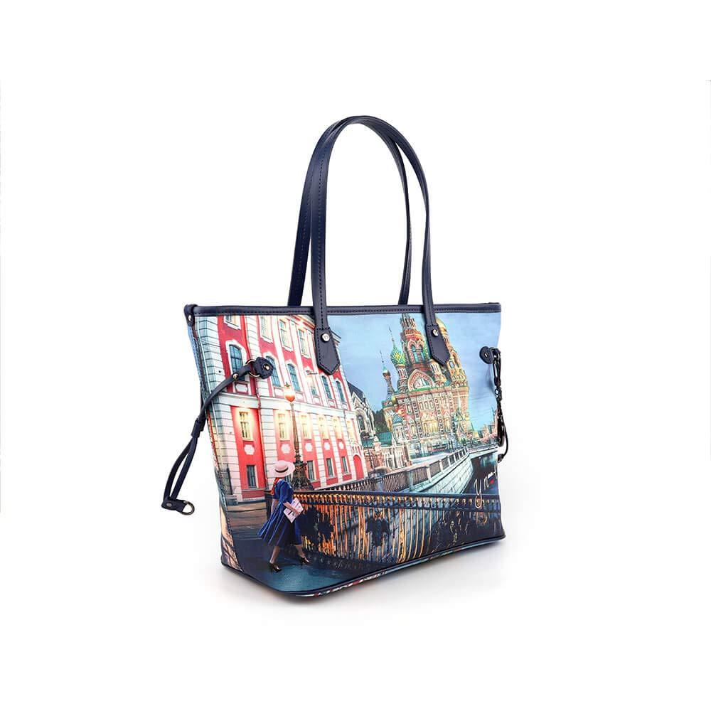 doppio manico YNOT Borsa donna goffrato sintetico di colore blu borsa con chiusura con zip e tasche interne BIOSABORSE