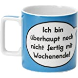 """sheepworld 43288 Tasse Wortheld """"Ich bin überhaupt noch nicht fertig mit Wochenende"""", Porzellan, blau"""