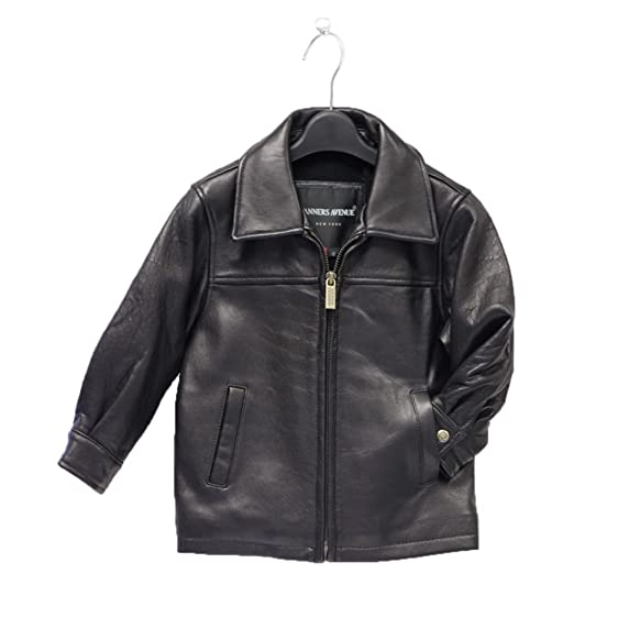 Cozy and chic, a kids' black leather jacket with diagonal slash front pockets and buttoned cuffs keeps your baby warm while adding a little spark to his wardrobe. Rivets and fun Disney decals mean that your fashion plate does not have to look like a biker unless you want him to.