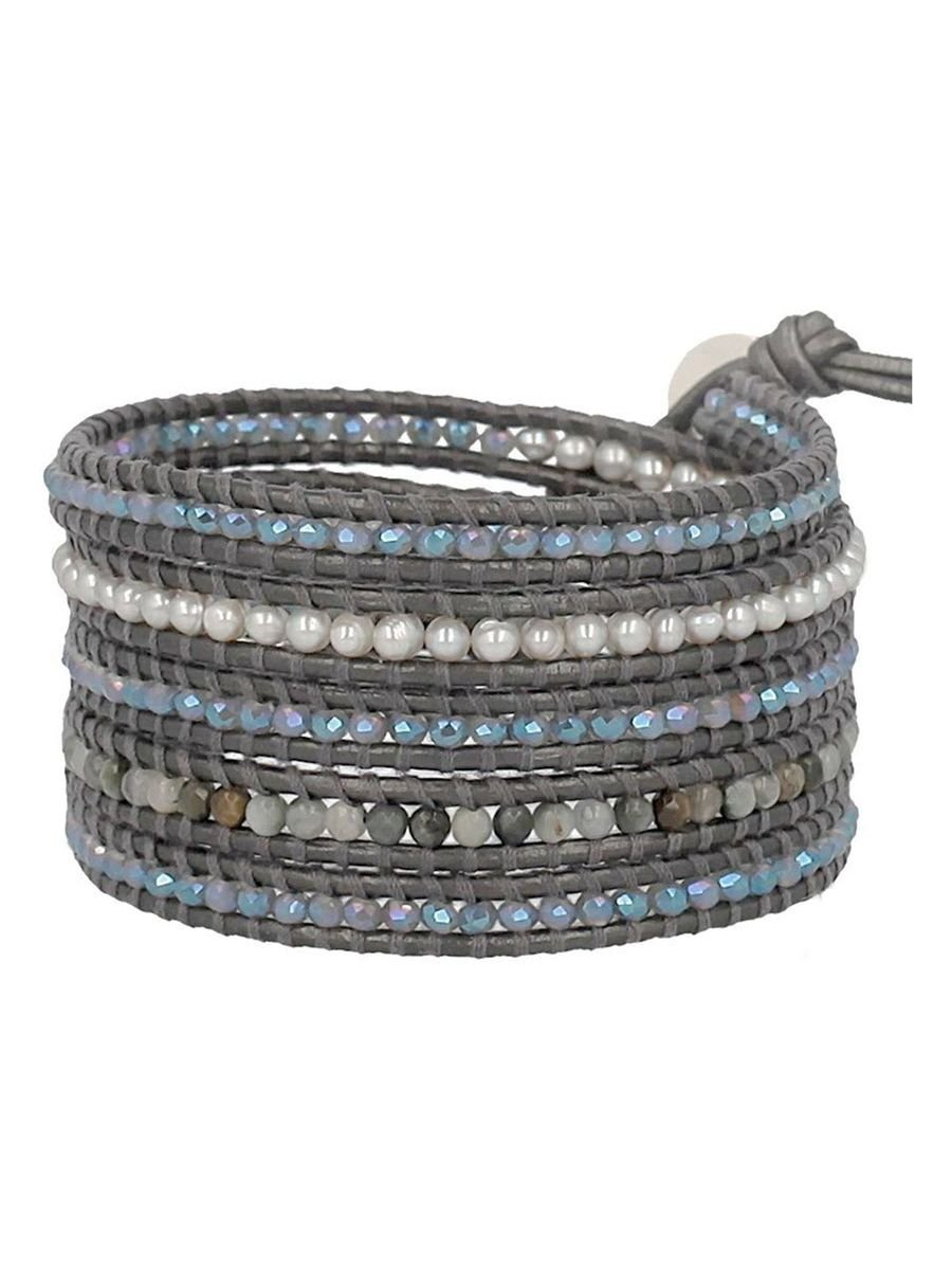 Chan Luu Mix Blue Irridescent and White Simulated Pearl Mix Sectioned Wrap Bracelet