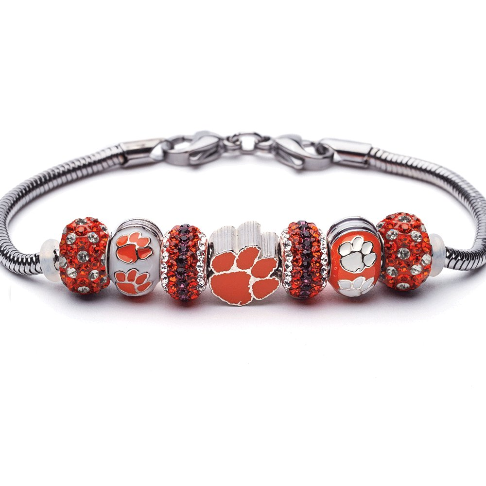 Clemson Tigers Charm Bracelet | Clemson University Bracelet | Stainless Steel Clemson Jewelry | Clemson Tigers Gifts | Officially Licensed by Clemson University by Stone Armory