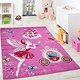 Paco Home Children'S Rug Pink Fairy Princess Children Rugs Girls Fuchsia Pink, Size:80x150 cm