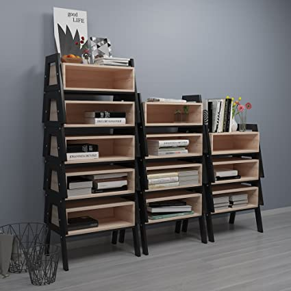 Huisenus Stackable Utility Book Storage Rack Bookshelf Bookcase Decorative Display Stand Cabinet Shoes Stool For Hallway