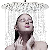 Large Rainfall Shower Head, Voolan 12'' High Flow Stainless Steel Bath Shower, High Pressure Adjustable Luxury Showerhead, Waterfall Full Body Coverage with Silicone Nozzle (12'' Round)