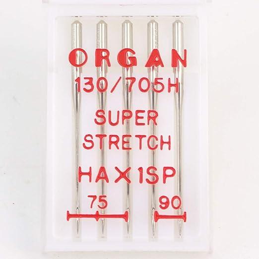 Organ - Agujas para máquina de coser Super Stretch 75/90: Amazon ...