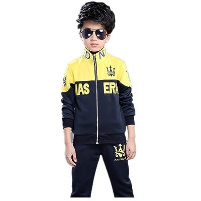FTSUCQ Boys Zip Front Sports Tracksuits Jacket Shirt Top Coat + Pants