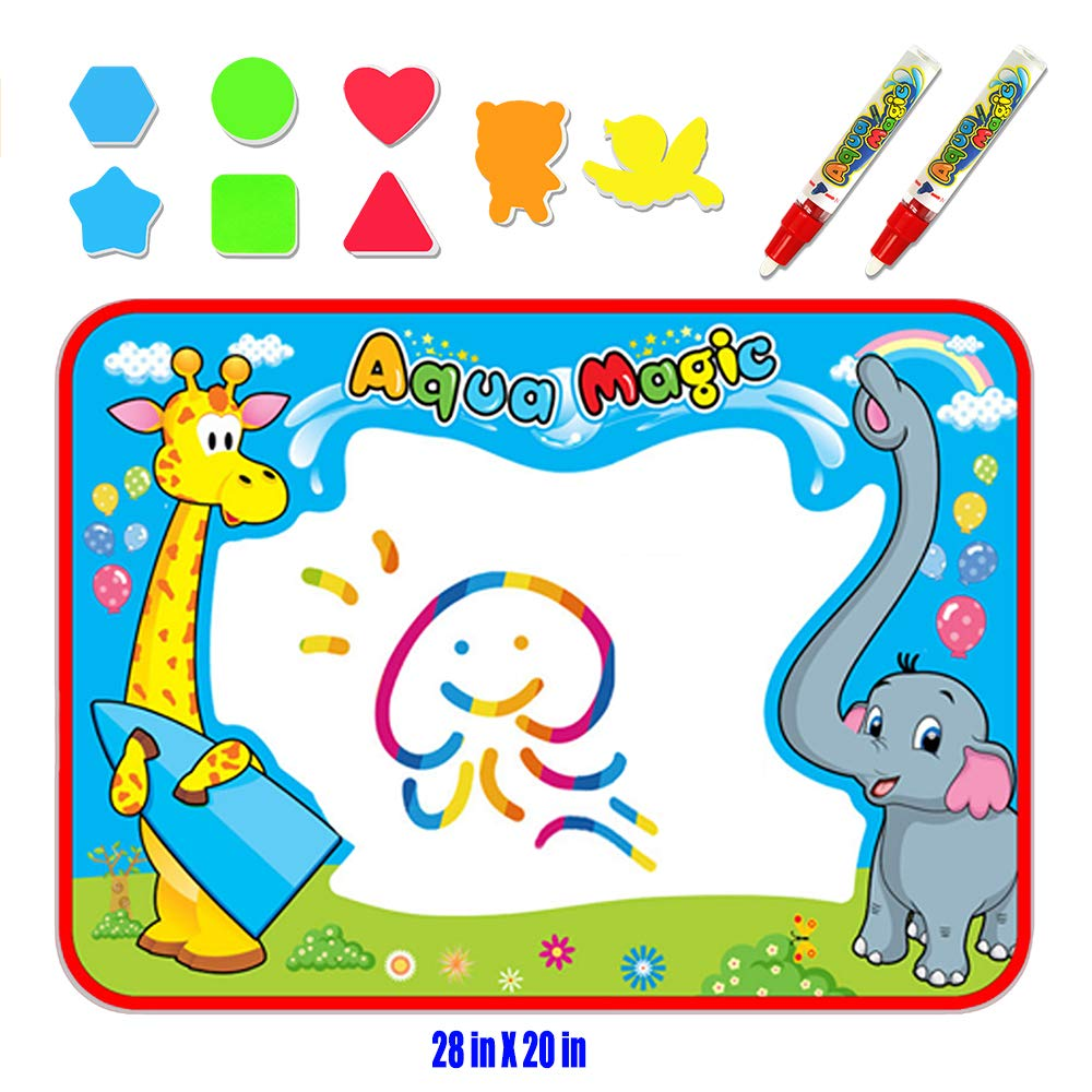 Large AquaDoodle Mat Doodle Board Kids Toys Aqua Magic Mat with Kids Backpack Mess Free Coloring Painting Educational Toys for Age 1-12 Years Old Girls Boys Toddler Gifts 40X28