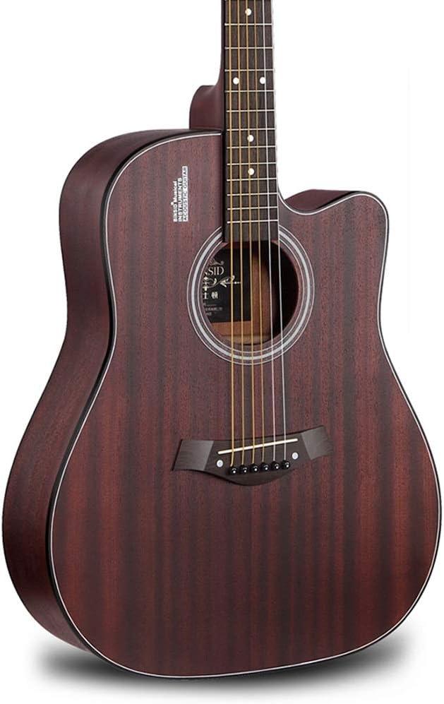 Miiliedy Proceso totalmente cepillado a mano Guitarra acústica de 41 pulgadas Principiante Estudiante Hombre Mujer Guitarra de madera Retro Diseño minimalista Textura vintage Guitarra de alta calidad
