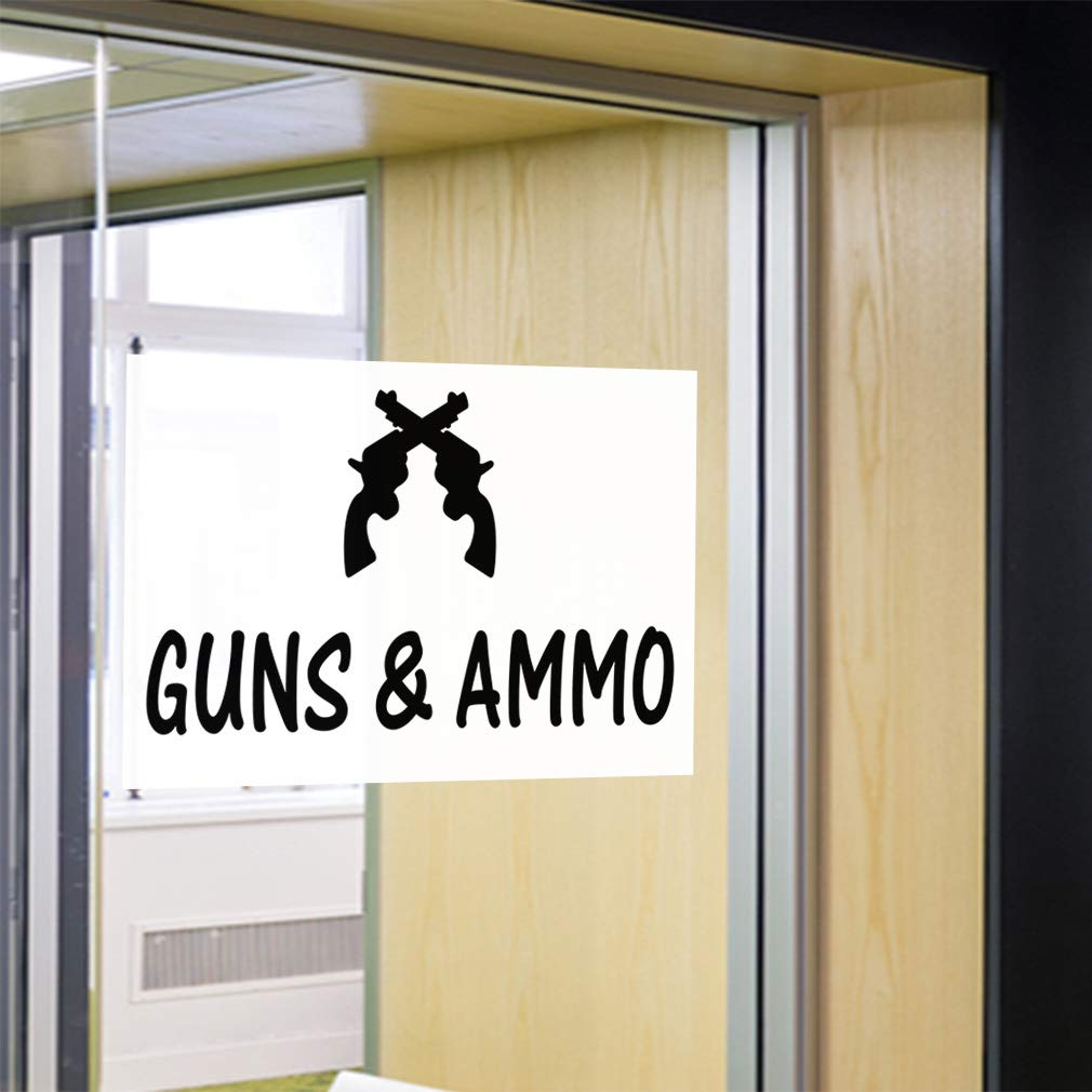 14inx10in Set of 10 Decal Sticker Multiple Sizes Guns /& Ammo #1 Style A Business Guns Ammo Outdoor Store Sign White