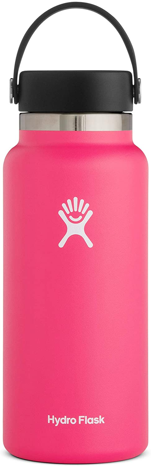 Hydro Flask Water Bottle - Stainless Steel & Vacuum Insulated - Wide Mouth 2.0 with Leak Proof Flex Cap - 32 oz, Watermelon