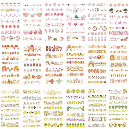 Cute Washi Sticker Set (18 Sheets) Sweet Fruit Pineapple Peach Orange Food Cake Cartoon Animal Bee Bear Dog Sheep Duck Sun Cloud Bunting Rabbit Kids Stationery Stickers Craft Art Scrapbooking Journal