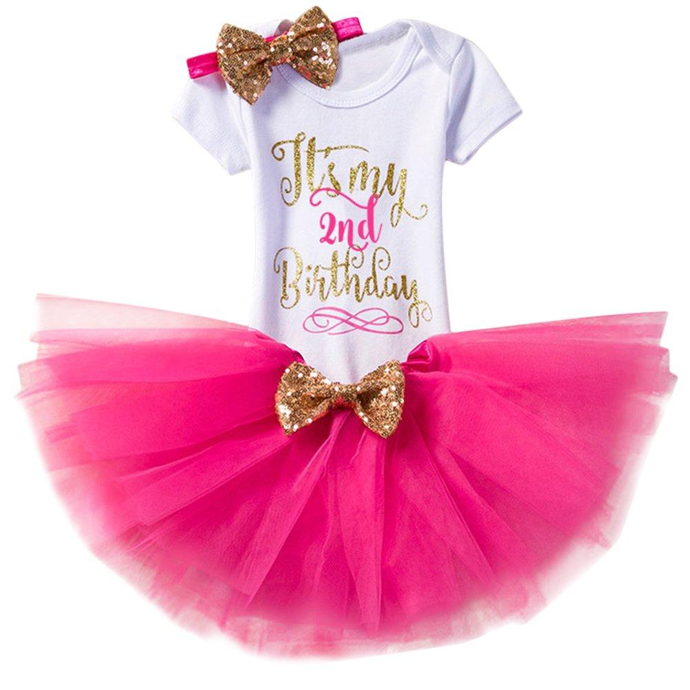 Baby Girls It's My 1st/2nd Birthday Cake Smash Romper+Skirt+Headband