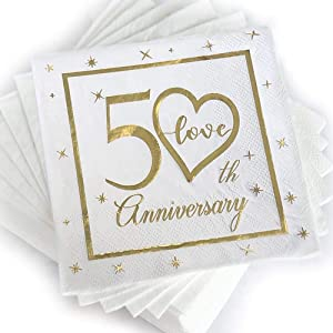 50th Anniversary Cocktail Napkins Gold Foil Print | Golden Wedding Anniversary Celebrations Party Favor Supplies & Decorations | 50-Pack 3-Ply | Folded 5 x 5 Inches Disposable Paper Beverage Napkins