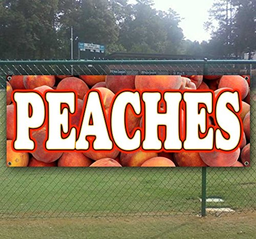 Georgia Peaches 13 oz Heavy Duty Vinyl Banner Sign with Metal Grommets, New, Store, Advertising, Flag, (Many Sizes Available) by Tampa Printing