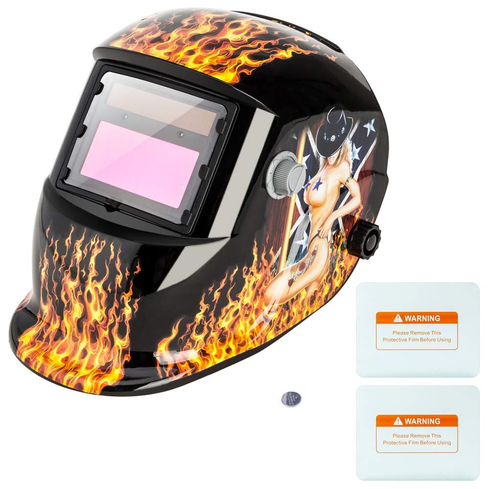 Z ZTDM Welding Helmets Pro Solar Auto Darkening Flame Soccer, Variable Shade Range 4/9-13 Mask Grinding Welder Protective Gear Arc Mig Tig, CE EN379 ANSI Z87.1